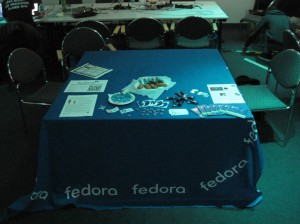 Table with Fedora cloth, swag and sweets.